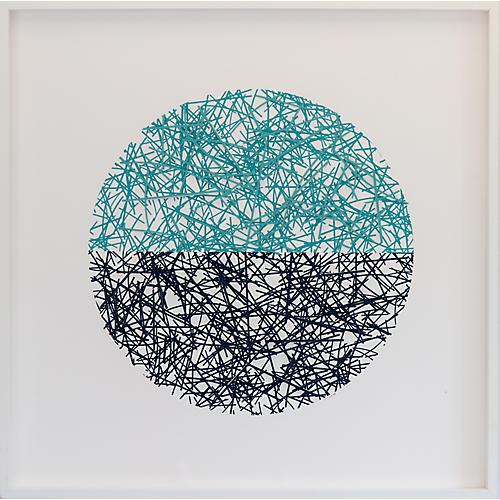 Dawn Wolfe, Navy & Aqua Straw Circle