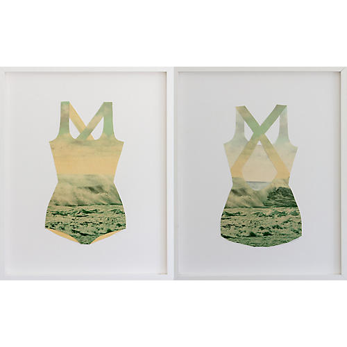 Dawn Wolfe, Ocean Collage Bathing Suit Diptych