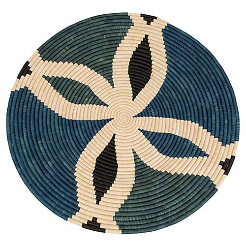 "27"" Pweza Decorative Tray, Blue/Natural"