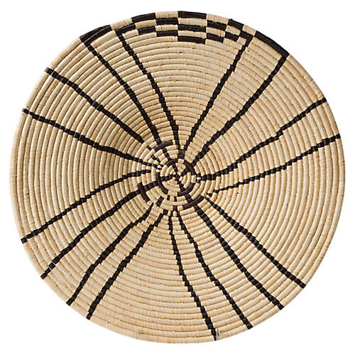 "20"" Sanaa Decorative Tray, Natural/Black"
