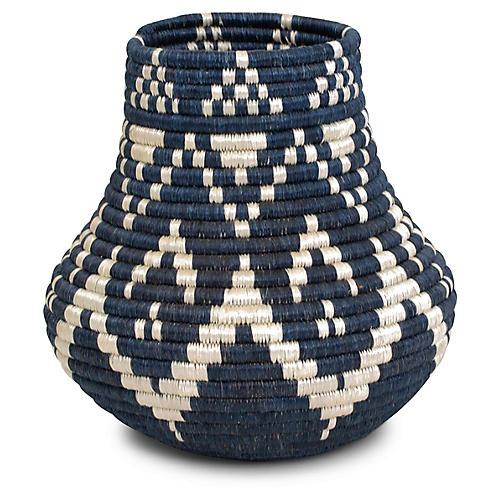 """8"""" Rangi Vase w/ Glass Liner, Blue/White"""