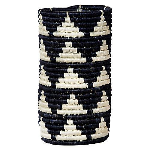 "9"" Igisozi Vase w/ Glass Liner, Black/White"