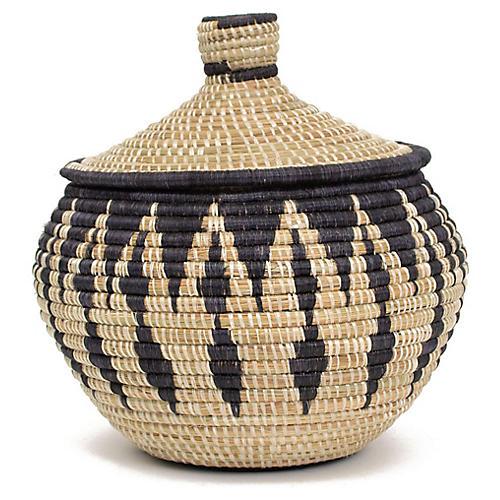 "9"" Nyana Basket w/ Lid, Black/Natural"
