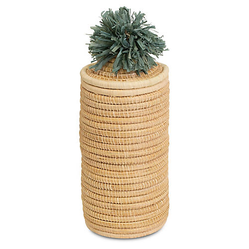 "11"" Haree Tall Pom-Pom Box, Slate/Natural"