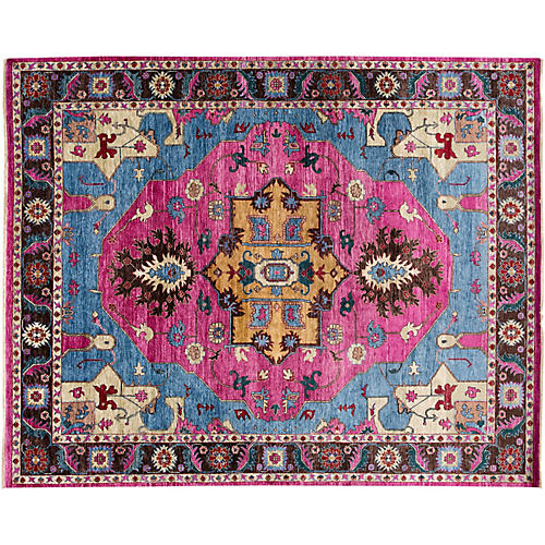 "9""x12"" Modern Hand-Knotted Rug, Pink"