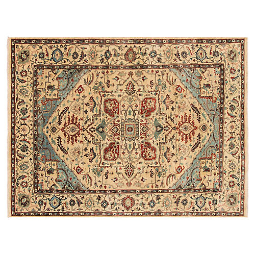 "8'x10'2"" Indo Serapi Hand-Knotted Rug, Beige"