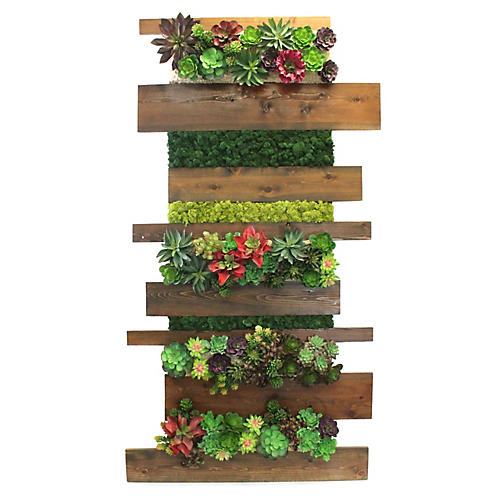 """73"""" Stacked Succulent Wall Piece, Faux"""