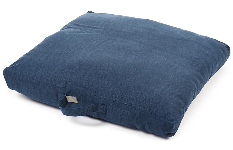 Napoli 27x27 Floor Pillow Cover, Navy Linen