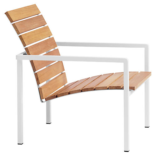 Natal Alu Teak Lounge Chair, White