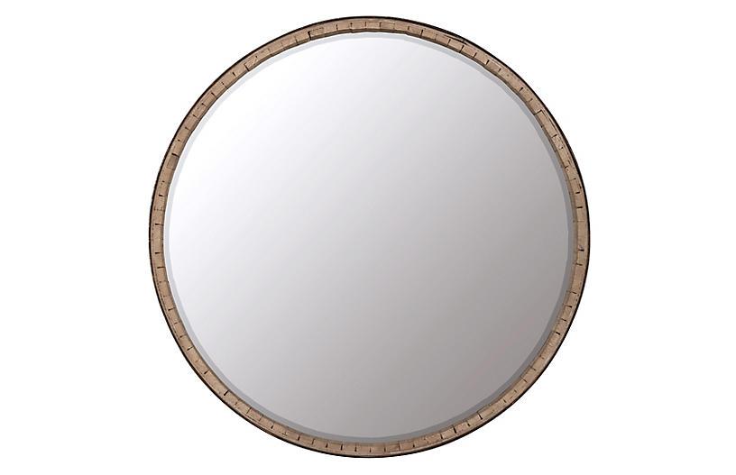 Beckett Round Wall Mirror, Brown