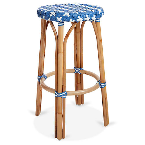 Olivia Bistro Barstool, Light Blue/White