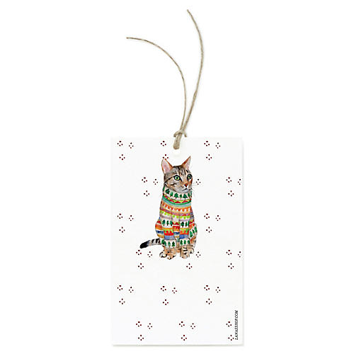 S/12 Tabby Cat Gift Tags
