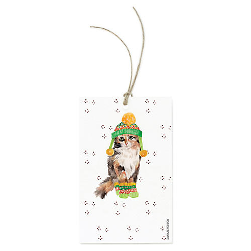 S/12 Winter Cat Gift Tags