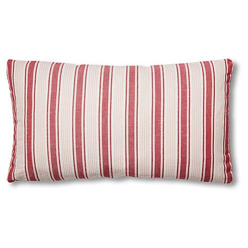 Ojai Stripe 15x26 Lumbar Pillow, Red