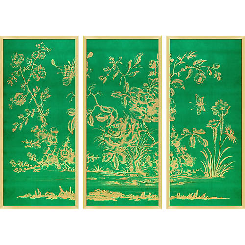 Gold Chinoiserie Triptych I