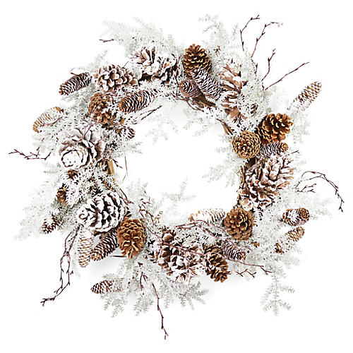 """20"""" Frosted Grapevine Wreath, Faux"""
