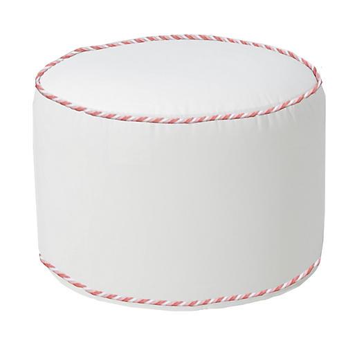 Kit Round Pouf, White/Pink