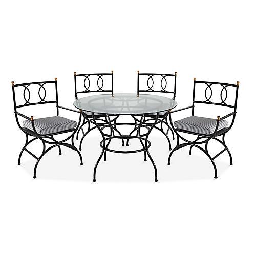 Frances 5-Pc Round Dining Set, White/Black Stripe