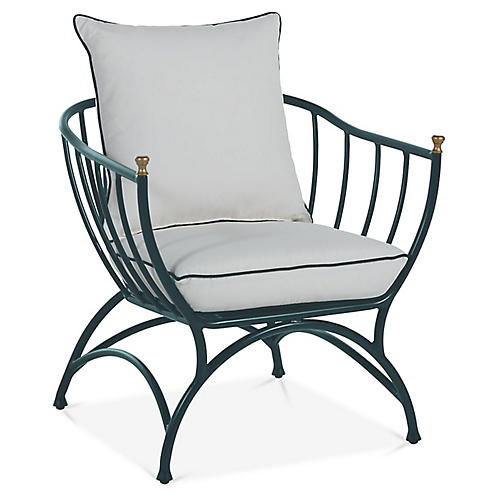 Frances Accent Chair, Green/White