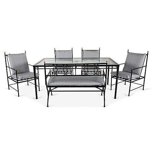 Frances 6-Pc Bench Dining Set, White/Black Stripe