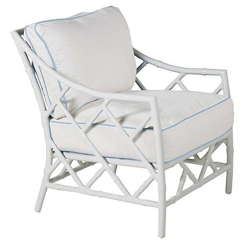 Kit Lounge Chair, White/Blue Sunbrella