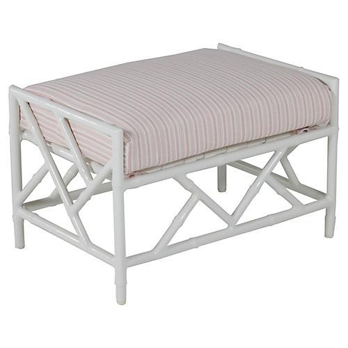 Kit Ottoman, White/Pink Stripe