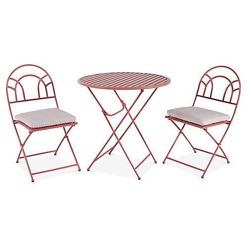 Stella Folding Bistro Set, Pink/White Stripe