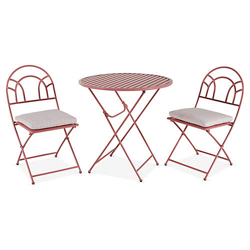 Stella Folding Bistro Set, Pink/White Stripe