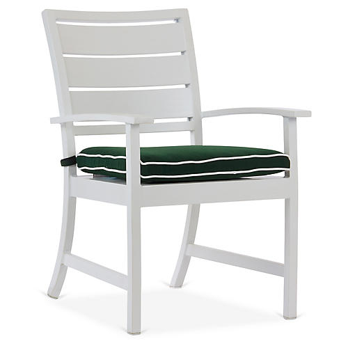 Charleston Armchair, Green/White