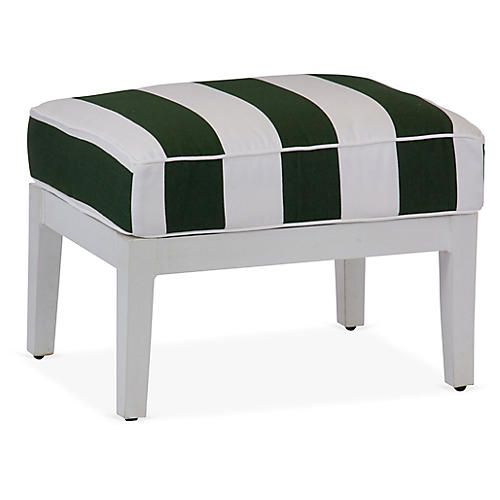 Lattice Ottoman, Green/White