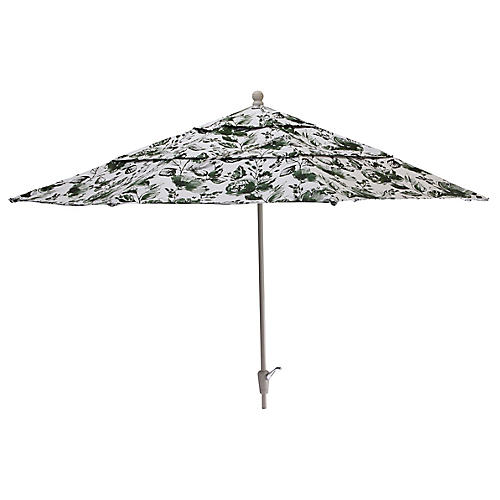 Ink Floral Patio Umbrella, Green/White