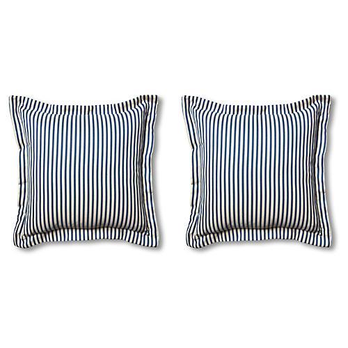 S/2 Newport Pillows, Navy/White