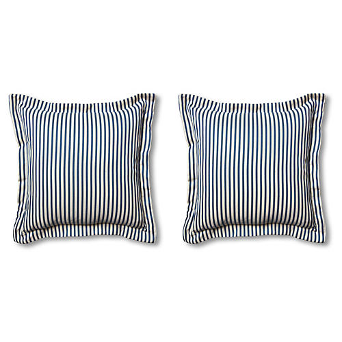 S/2 Newport Pillows, Navy/White
