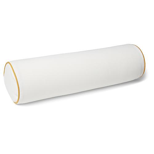 S/2 Kit Outdoor Bolster Pillows, White/Mustard