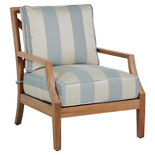 Haley Lounge Chair, Blue/Natural