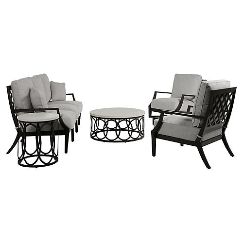 Lattice 5-Pc Chat Set, Gray/Slate