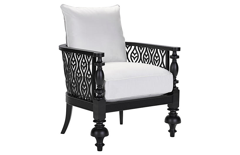 Hemingway Plantation Accent Chair, Black/Natural