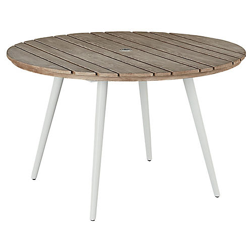 Essentials Round Dining Table, White/Weathered