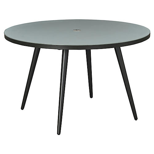 Essentials Round Dining Table, Black/Glass