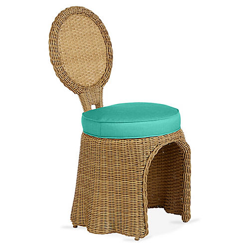 Crespi Side Chair, Turquoise