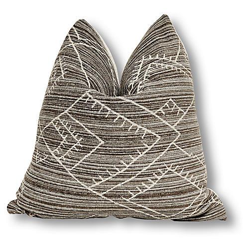 Kona 24x24 Pillow, Gray/Ivory