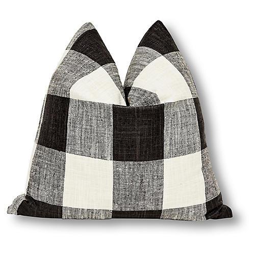 Buffalo Plaid 24x24 Pillow, Black/White Linen