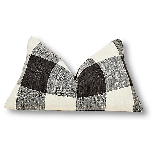 Buffalo Plaid 13x22 Lumbar Pillow, Black Linen