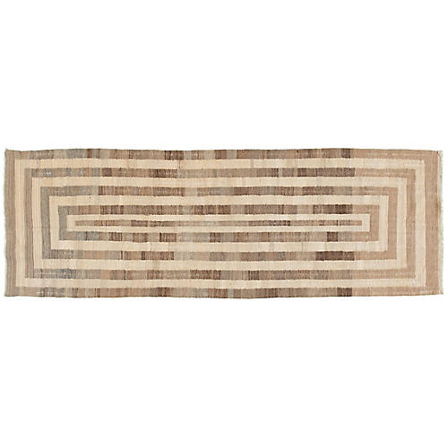 "3'1""x9'4"" Maya Kilim Runner, Brown"