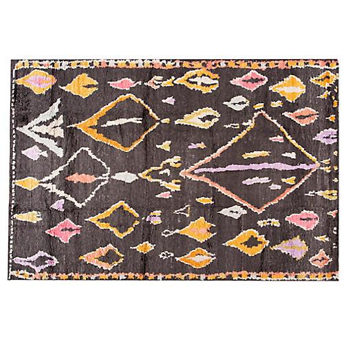 "9'5""x13'6"" Ziva Moroccan Rug, Black"