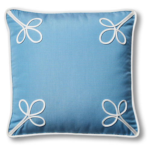 Kit Outdoor Box Pillow, Blue/White