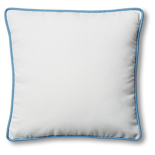 Kit Outdoor Box Pillow, White/Blue
