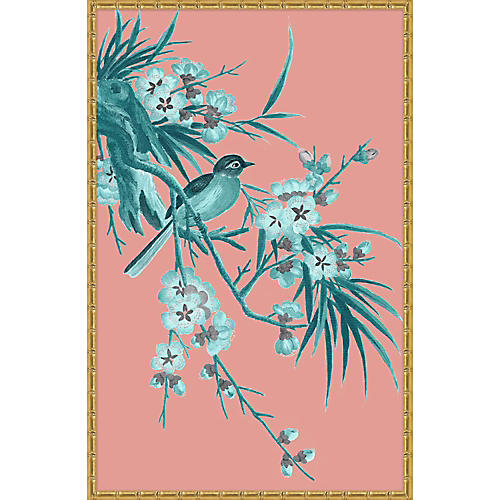 Pink & Turquoise Chinoiserie Birds I