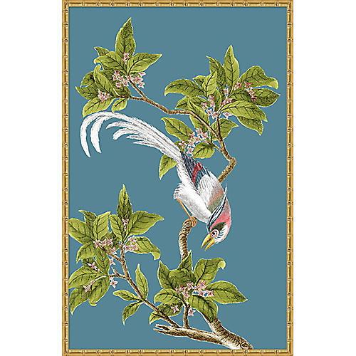 Navy & Green Chinoiserie Birds I