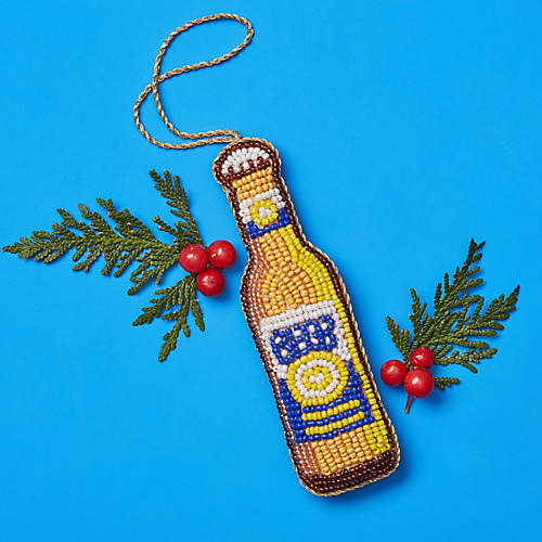 Beaded Beer Ornament, Yellow/Multi